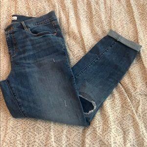 LOFT modern skinny distressed blue jeans, size 10